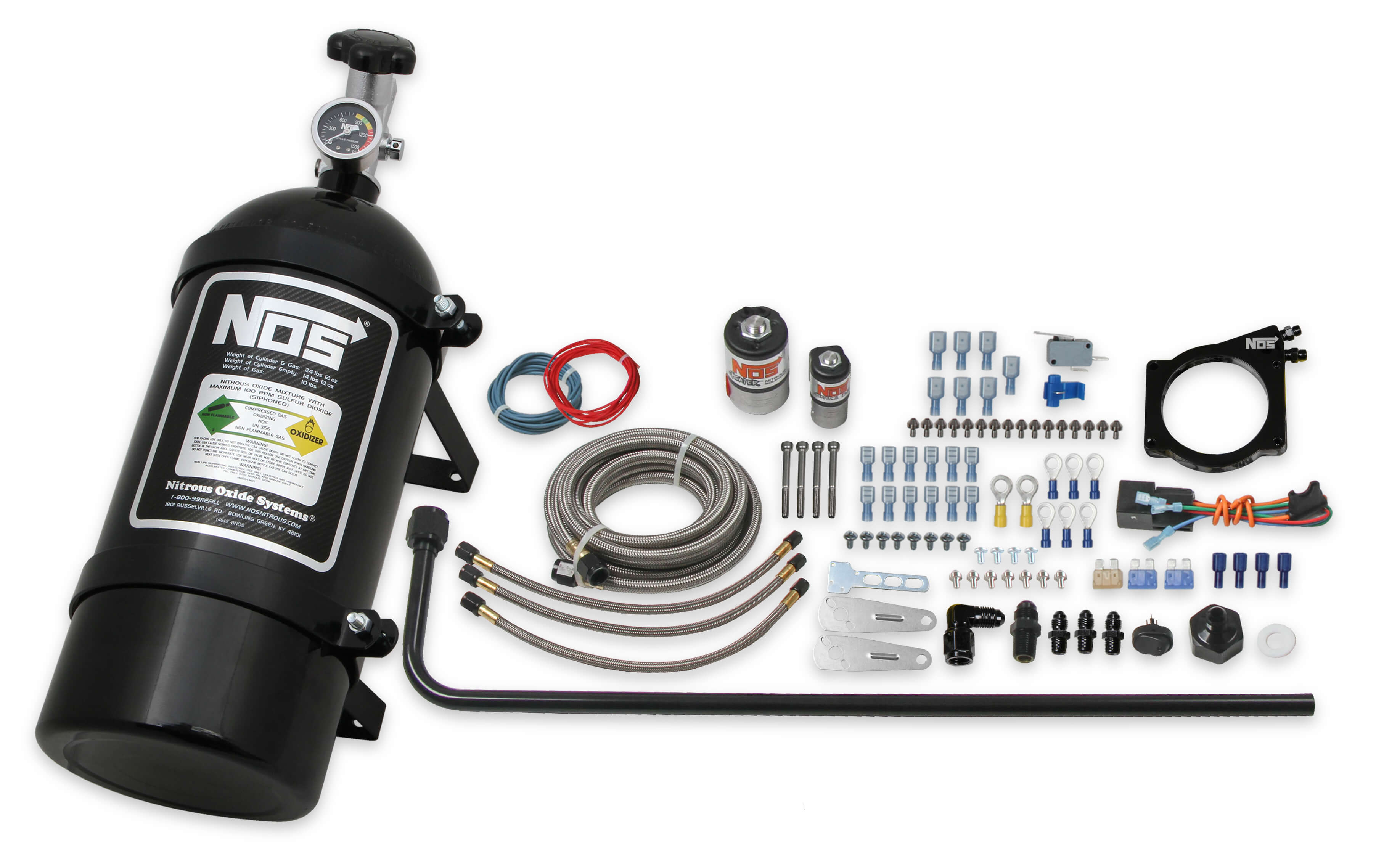 GM LS NOS 90mm Wet Nitrous System with 4-Bolt Cable Throttle Body - Black