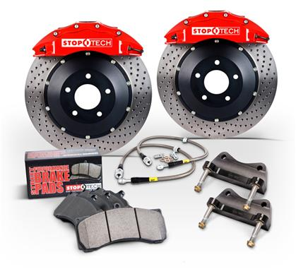 97-04 C5/ZO6 Corvette Stoptech Front Big Brake Kit w/Red ST-40 Calipers & 2pc 355x32mm Zinc Slotted Rotors