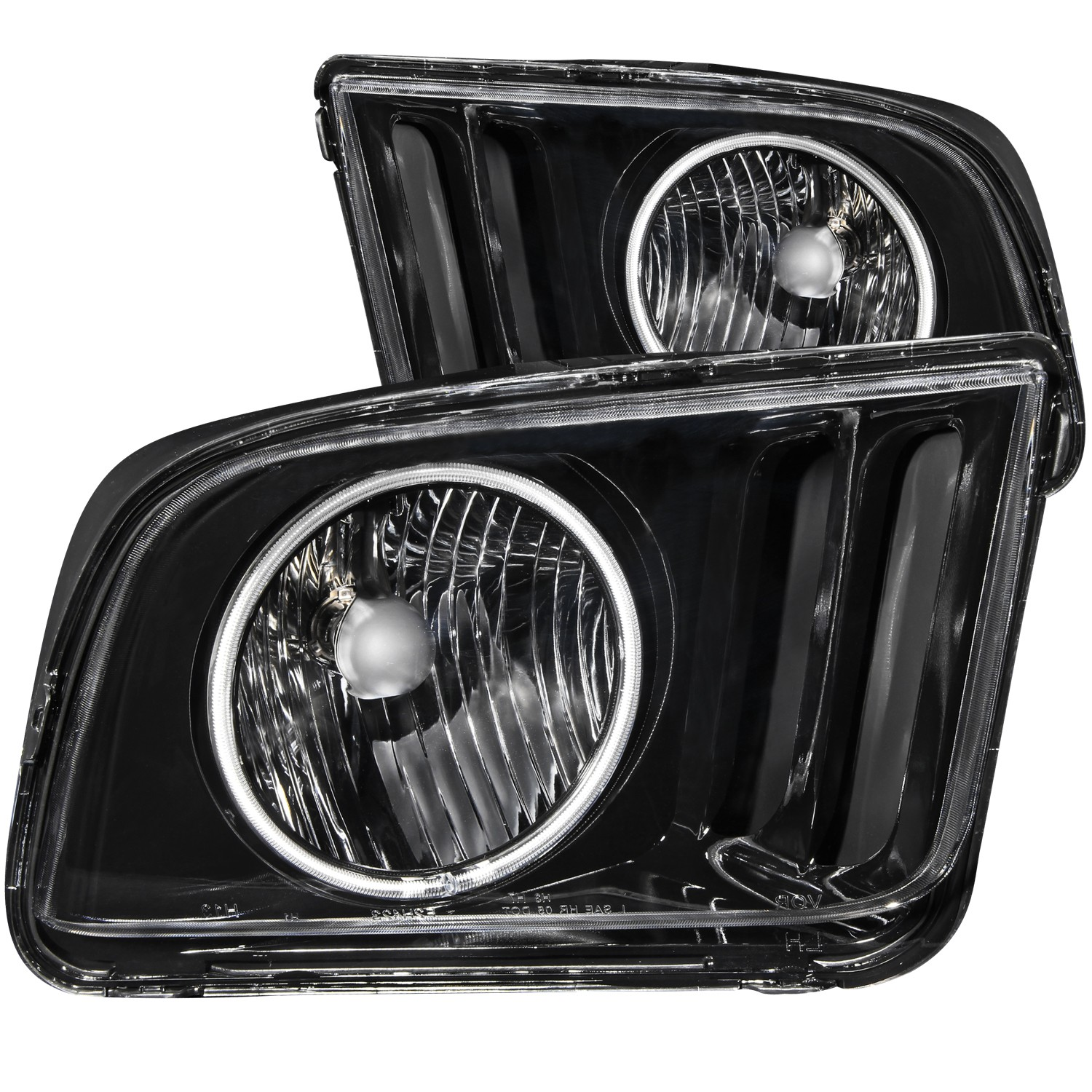 2005-2009 Ford Mustang ANZO Crystal Headlights w/Black Background & CCFL Halo