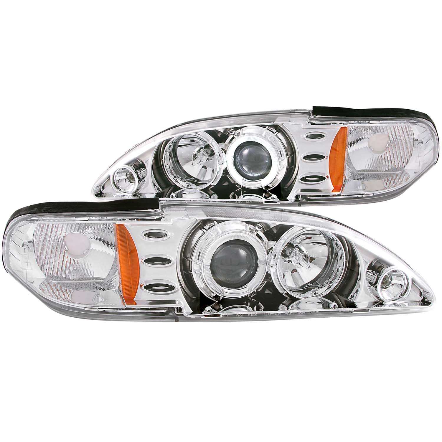 1994-1998 Ford Mustang ANZO Projector HALO Headlights w/Halogen Bulbs & Chrome Housing