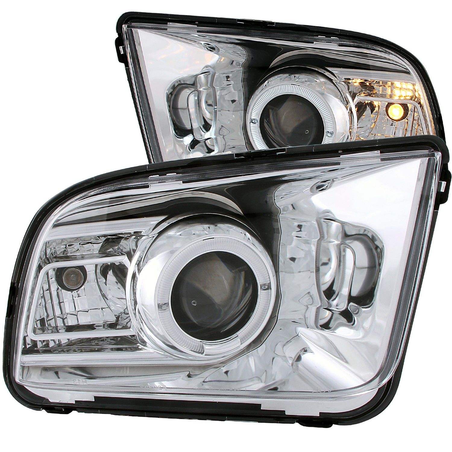 2005-2009 Ford Mustang ANZO Projector Headlights w/Chrome Background & Halo (2010 Style)