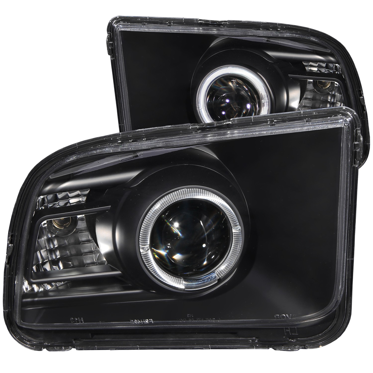 2005-2009 Ford Mustang ANZO Projector Headlights w/Black Background & Halo (2010 Style)
