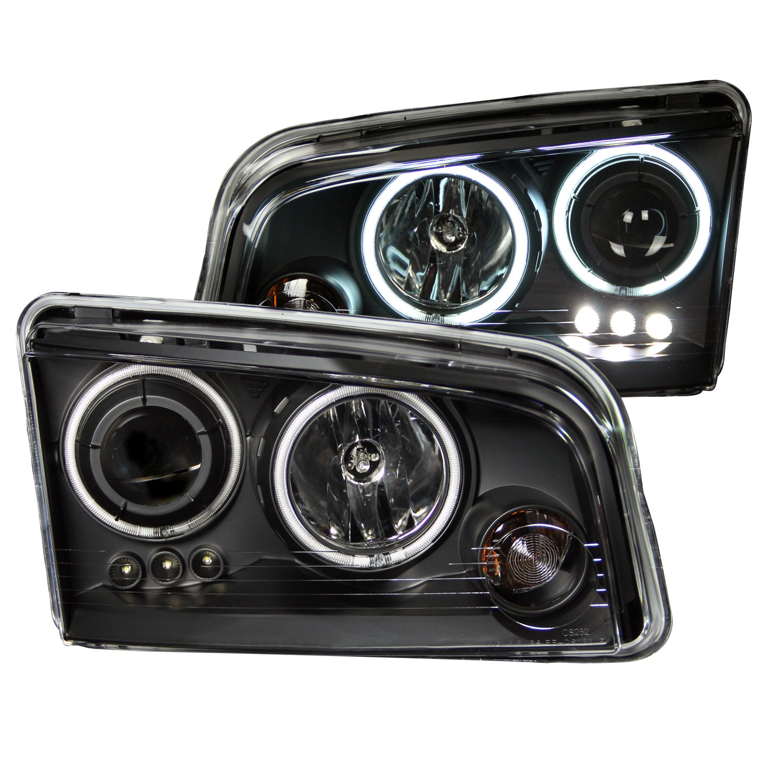 2006-2010 Dodge Charger ANZO Project Halo Head Lights & LED w/Halogen Bulbs, Clear Lens & Black Housing