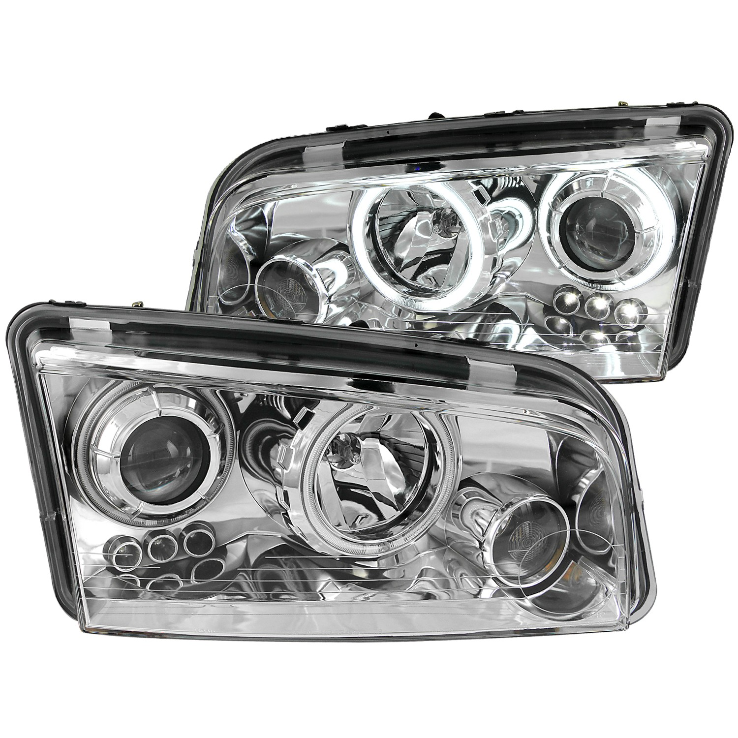 2006-2010 Dodge Charger ANZO Project Halo Head Lights & LED w/Halogen Bulbs, Clear Lens & Chrome Housing