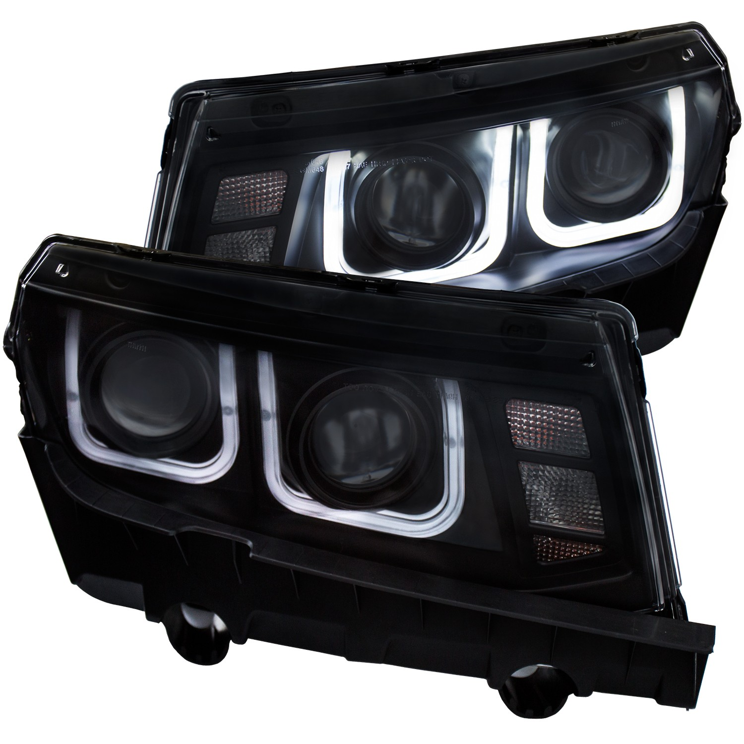 2014-2015 Camaro ANZO Project Headlights U Bar w/Halogen Bulbs & Black Housing