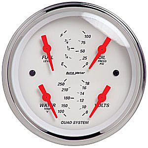 "Auto Meter Artic White Series 3 3/8"" Short Sweep Quad Gauge - Oil Press. / Water Temp. / Volt / Fuel Level"