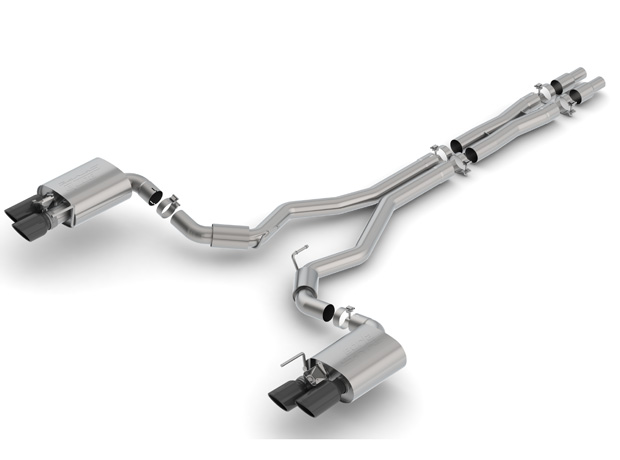 "2018+ Ford Mustang GT 5.0L Borla 3"" S-Type Catback Exhaust System w/Black Tips & Valves"