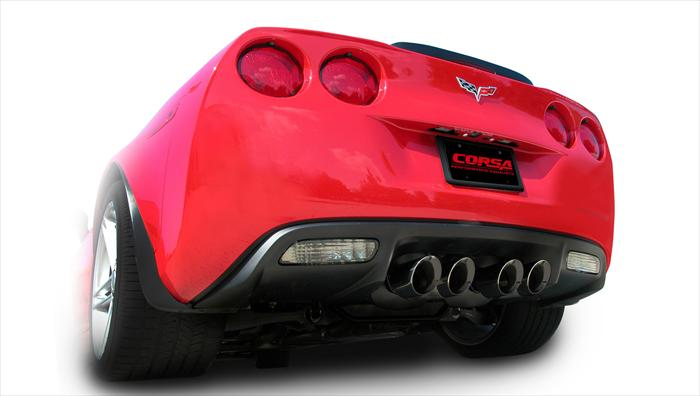 "2006+ C6 Corvette ZO6/ZR1 Corsa 3"" Axleback Exhaust System w/Twin 4.0"" Polished Diamond Black Pro-Series Tips"