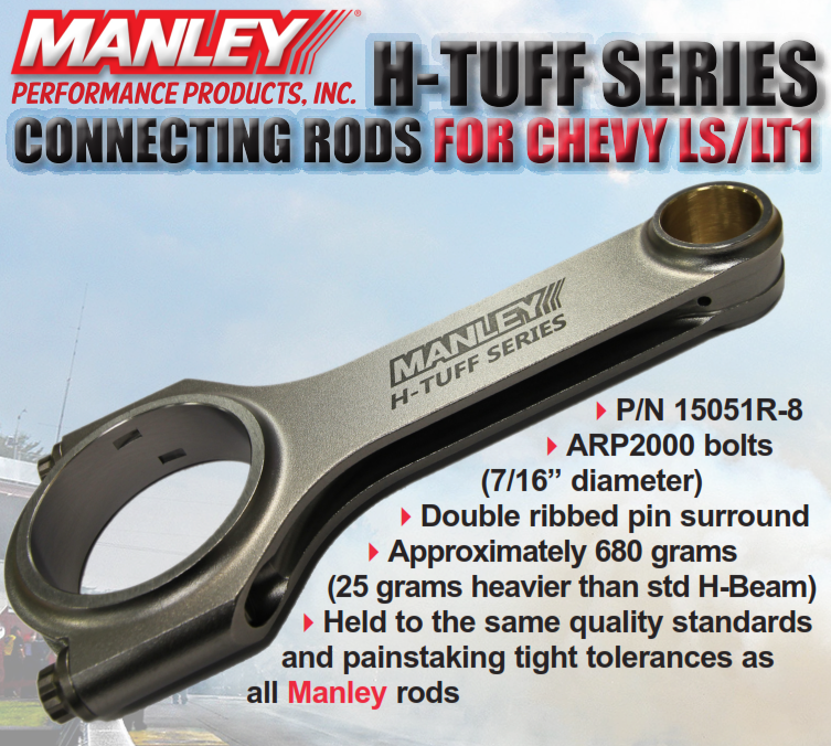 "LS/LT Manley Performance 6.125"" H Tuff Series Connection Rods w/ARP 2000 Bolts"