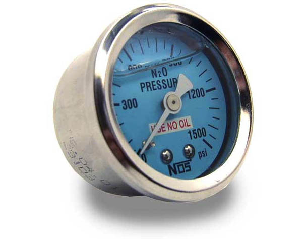 "NOS 1-1/2"" diameter Nitrous Pressure Gauge with -4AN adapter"