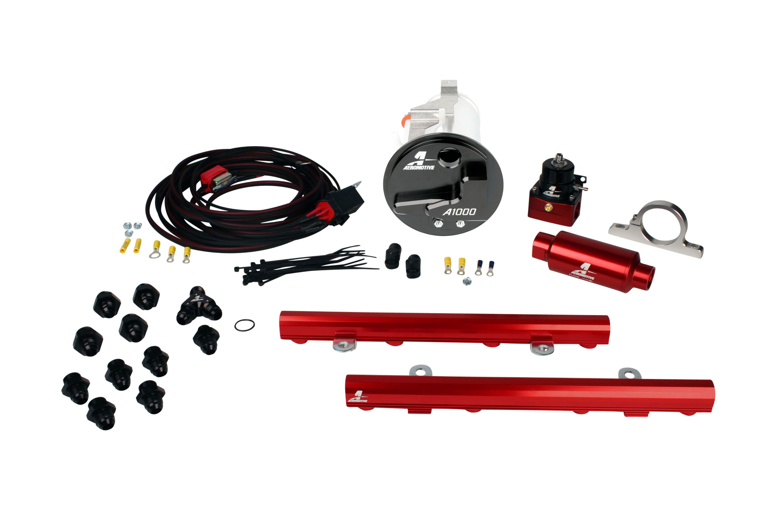 2005-2009 Ford Mustang GT Aeromotive Stealth A1000 Race Fuel System w/5.0L 4-V Fuel Rails Coyote Swap