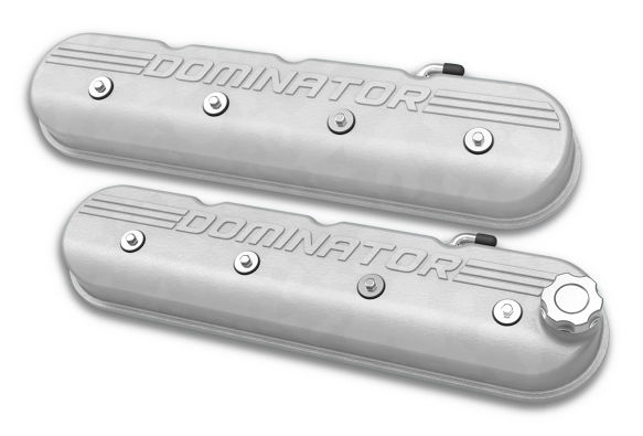 Holley LS Engine Dominator Tall Valve Covers w/Dominator Logo - Natural Cast