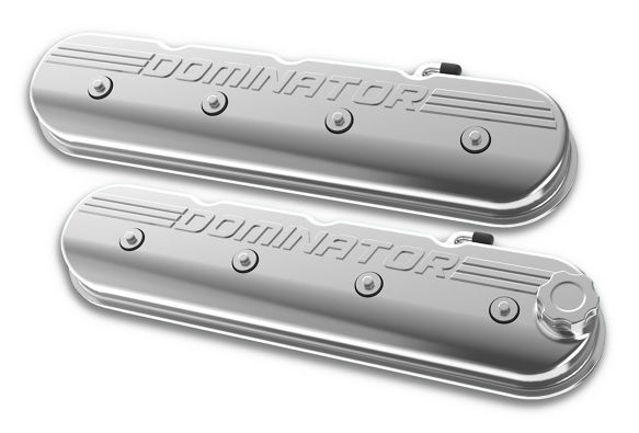 Holley LS Engine Dominator Tall Valve Covers w/Dominator Logo - Polished