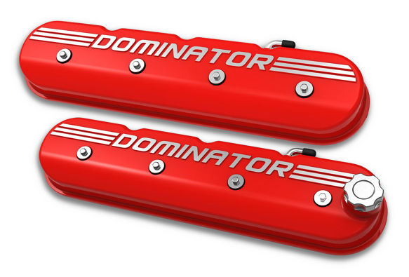 Holley LS Engine Dominator Tall Valve Covers w/Dominator Logo - Gloss Red Finish