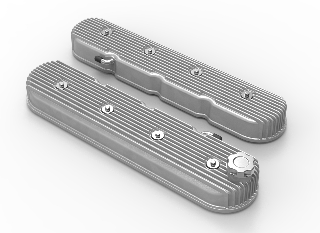 LS Holley Vintage Series Tall Finned Valve Covers - Natural Finish