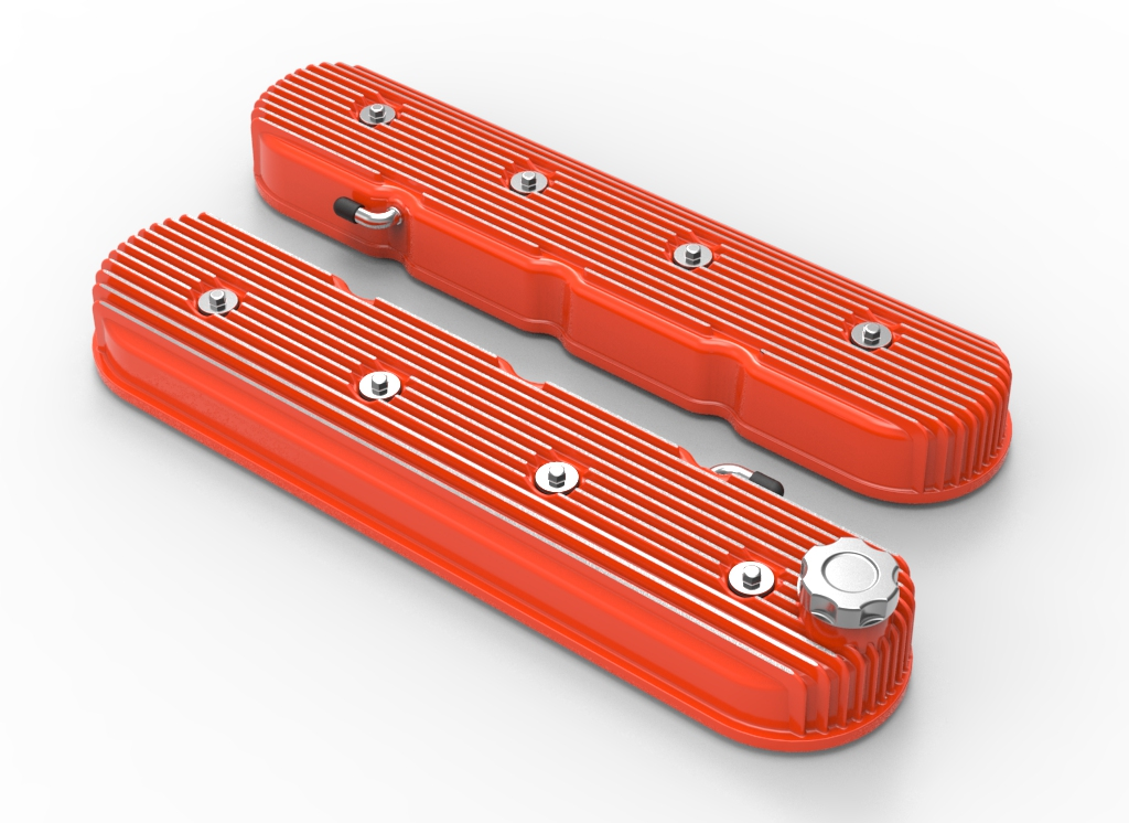 LS Holley Vintage Series Tall Finned Valve Covers - Factory Orange Finish
