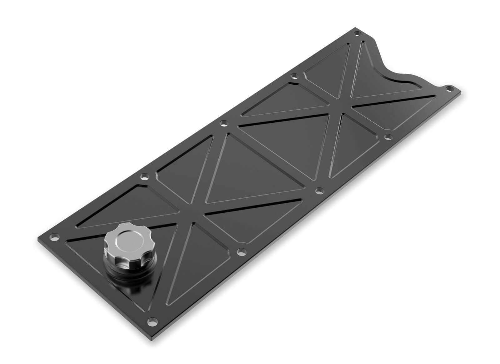 Holley LS1/LS6 Valley Cover with Oil Fill - Black Polished