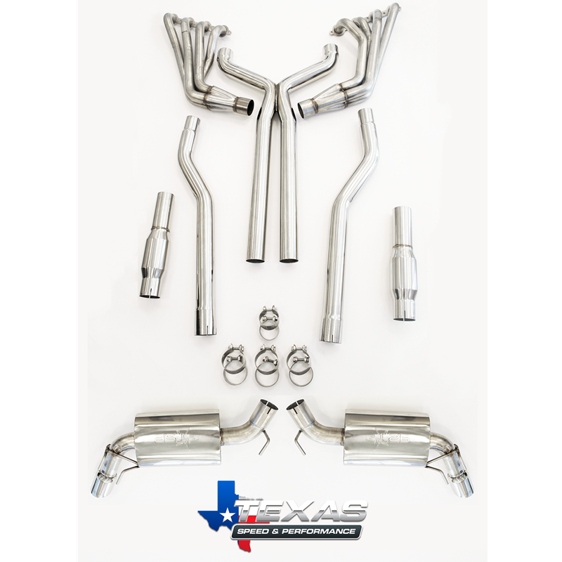 "2010+ Camaro SS Texas Speed & Performance 1 7/8"" 304 Stainless Steel Long Tube Headers w/3"" Catted Xpipe & 3"" TSP Mufflers"