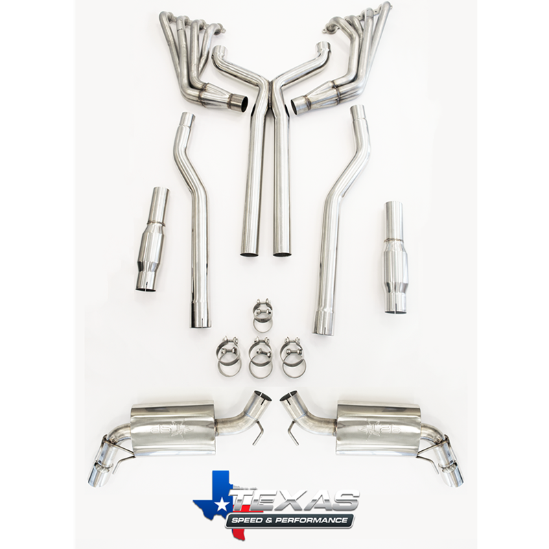 "2010+ Camaro SS Texas Speed & Performance 2"" 304 Stainless Steel Long Tube Headers w/3"" Catted Xpipe & 3"" TSP Mufflers"