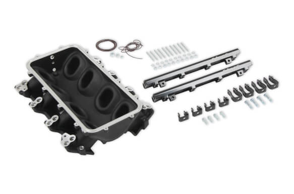 LS1/LS2/LS6 Holley Dual Fuel Injector Lo-Ram Manifold Base - Black Finish