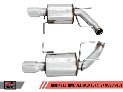 2011-2014 Ford Mustang GT/GT500 V8 AWE Touring Axleback Exhaust System w/Chrome Silver Tips