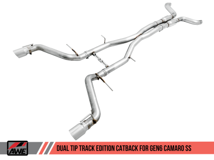 2016+ Camaro SS 6.2L V8 AWE Tuning Track Edition Catback Exhaust System w/Chrome Silver Tips (Resonated)
