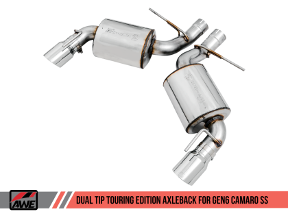 2016+ Camaro SS 6.2L V8 AWE Tuning Touring Edition Axleback Exhaust System w/Chrome Silver Tips