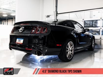 2011-2014 Ford Mustang GT/GT500 V8 AWE Touring Axleback Exhaust System w/Diamond Black Tips