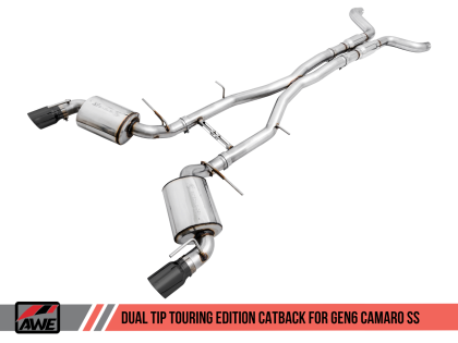 2016+ Camaro SS 6.2L V8 AWE Tuning Touring Edition Catback Exhaust System w/Diamond Black Tips (Resonated)