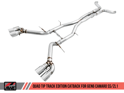 2016+ Camaro SS 6.2L V8 AWE Tuning Track Edition Catback Exhaust System w/Chrome Silver Quad Tips (Resonated)