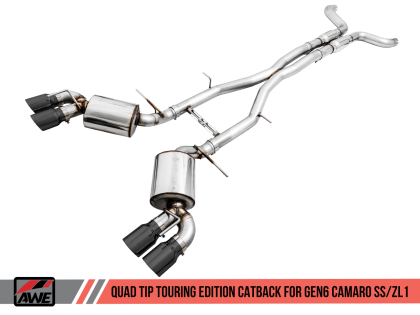 2016+ Camaro SS 6.2L V8 AWE Tuning Touring Edition Catback Exhaust System w/Diamond Black Quad Tips (Resonated)