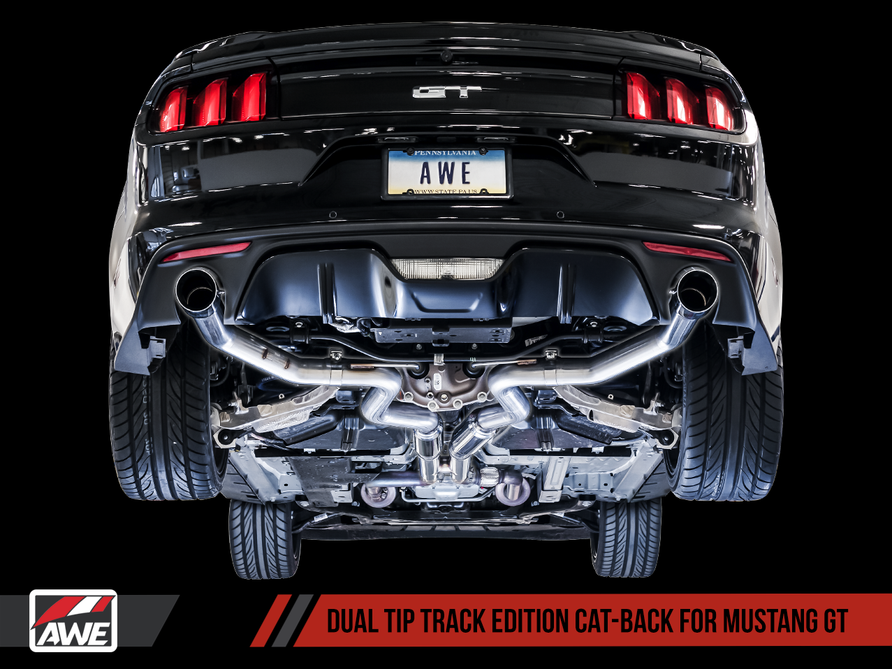 2015-2017 Ford Mustang GT 5.0L V8 AWE Track Edition Catback Exhaust System w/Black Diamond Tips