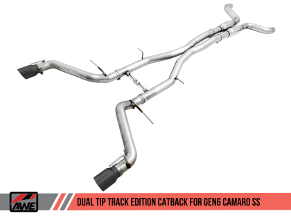 2016+ Camaro SS 6.2L V8 AWE Tuning Track Edition Catback Exhaust System w/Diamond Black Tips (Non Resonated)