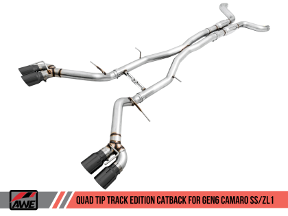 2016+ Camaro SS 6.2L V8 AWE Tuning Track Edition Catback Exhaust System w/Diamond Black Quad Tips (Non Resonated)