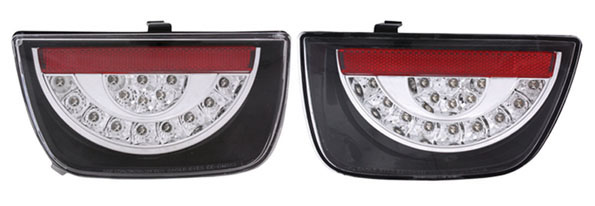 2010+ Camaro Anzo Rear LED Tail Lights - Red/Clear Lens w/Black Housing