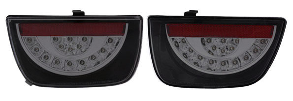 2010-2013 Camaro Anzo Rear LED Tail Lights - Red/Smoke Lens w/Black Housing
