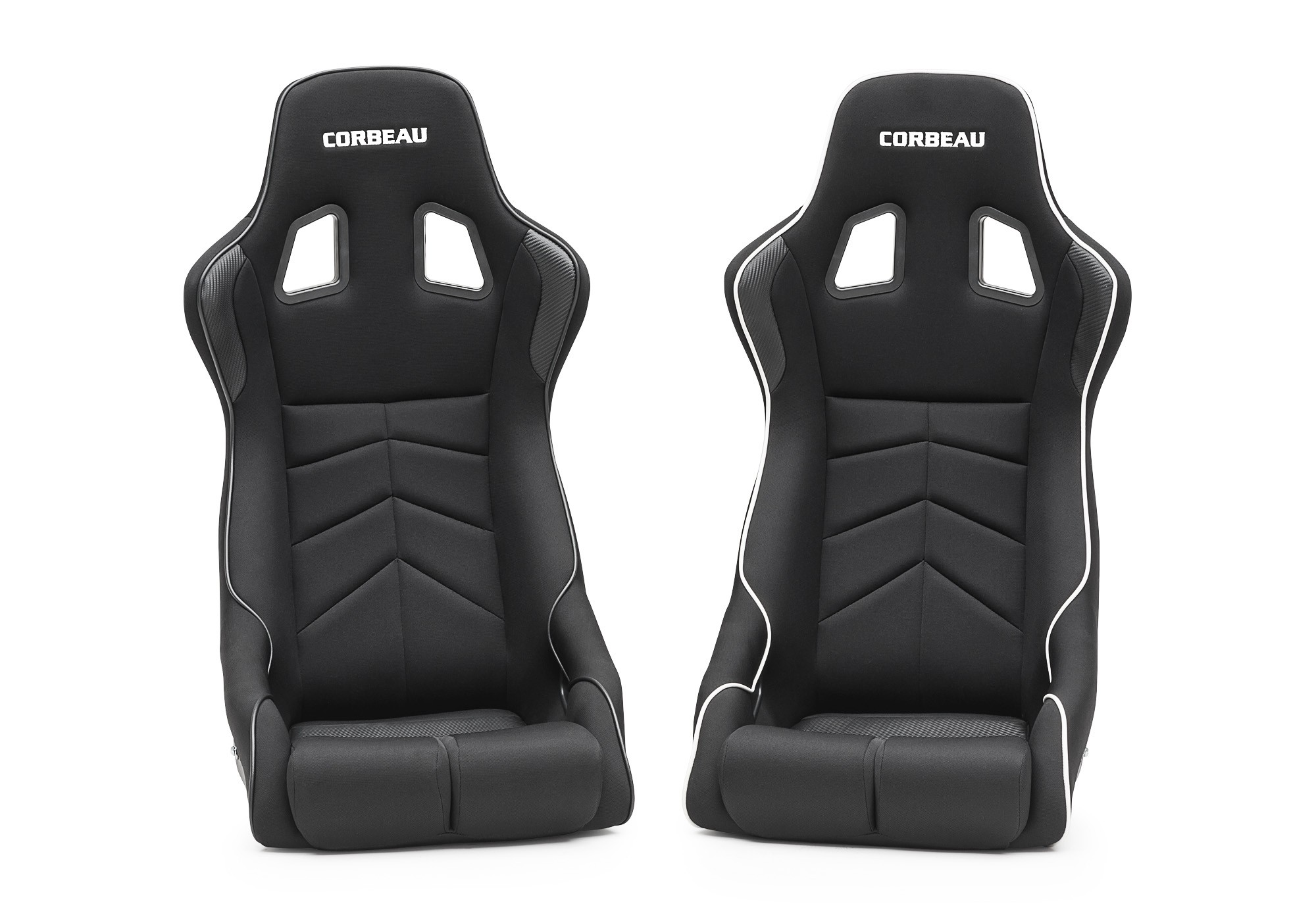 Corbeau DFX Seats - Black Cloth/Vinyl w/Black Piping