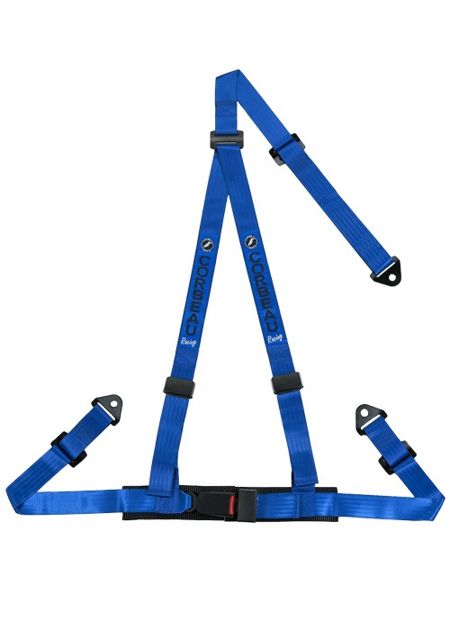 "Corbeau 3-Point Bolt In 2"" Harness Belts - Blue"
