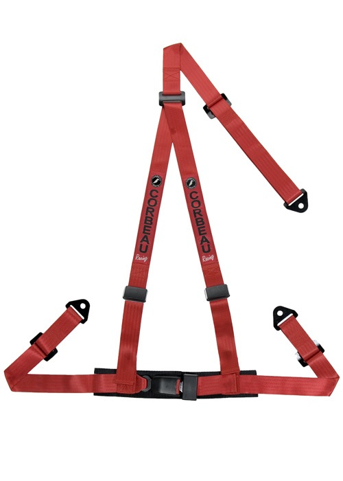 "Corbeau 3-Point Bolt In 2"" Harness Belts - Red"