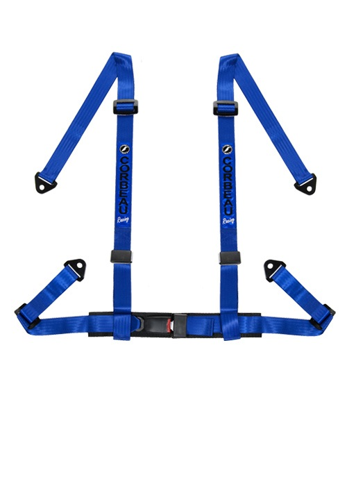 "Corbeau 4-Point Bolt In 2"" Harness Belts - Blue"