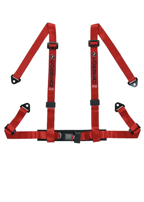"Corbeau 4-Point Bolt In 2"" Harness Belts - Red"