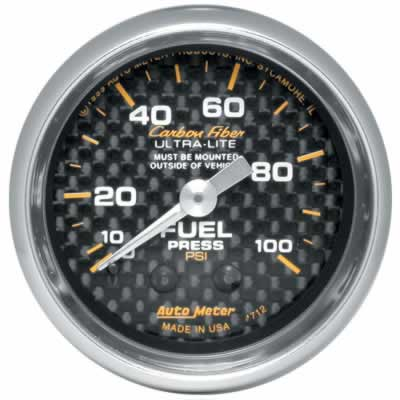 Auto Meter Carbon Fiber Mechanical Fuel Pressure Gauge