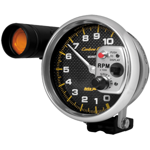 "Auto Meter Carbon Fiber Series 5"" Electric Tachometer w/Shift Light"