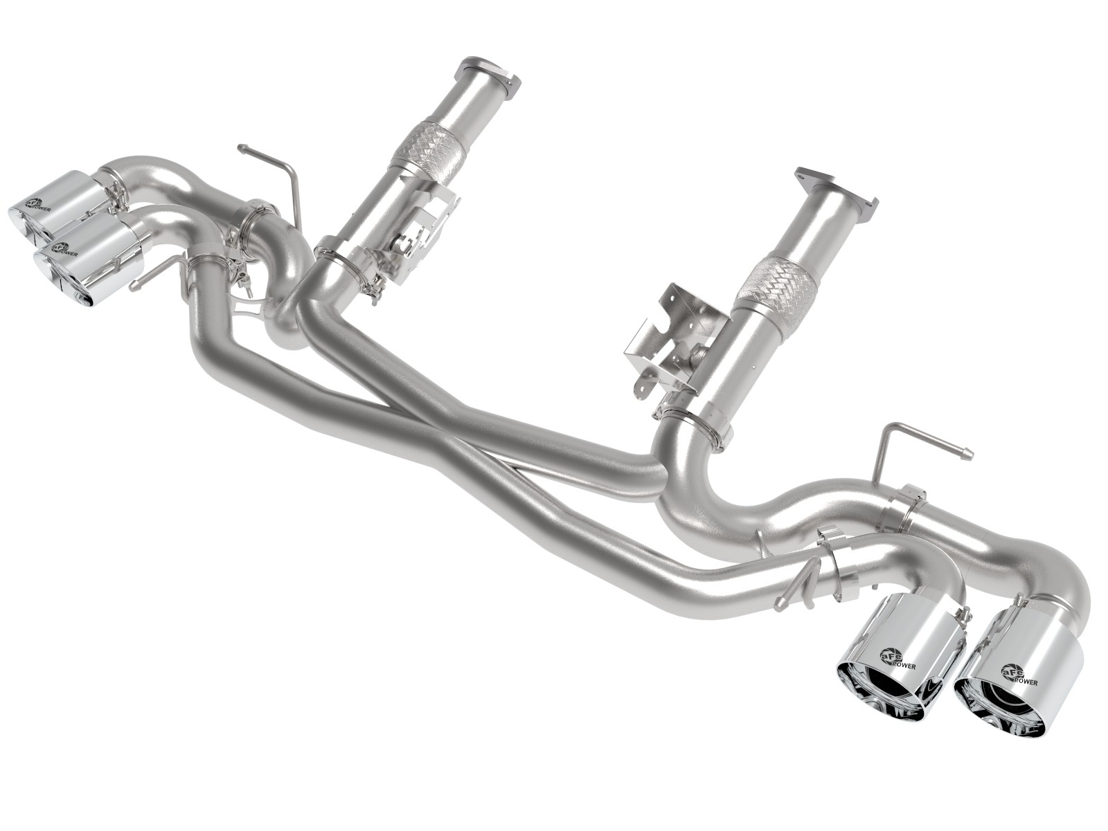 "2020+ C8 Corvette aFe Power MACH Force-Xp 3"" to 2-1/2"" 304 Stainless Muffler-Delete Cat-Back Exhaust System w/Polished Tips"