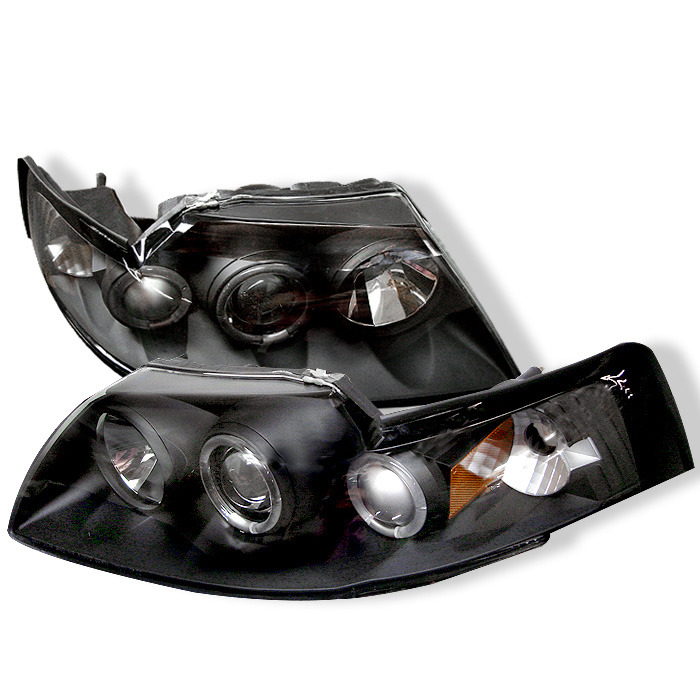 1994-2004 Ford Mustang Spyder Projector Halo LED Headlights w/Black Housing