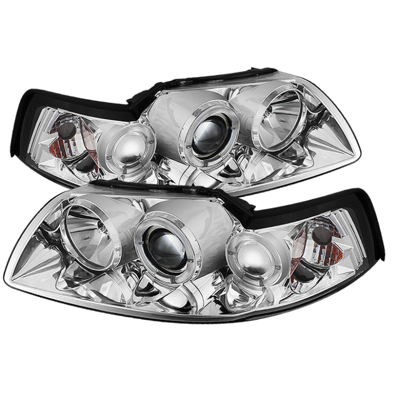 1994-2004 Ford Mustang Spyder Projector Halo LED Headlights w/Chrome Housing