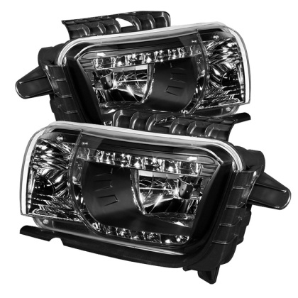 2010-2013 Camaro Spyder LED Crystal Headlights - Black