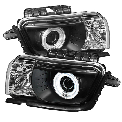2010-2013 Camaro Spyder Project Headlights w/Dual Halo & Black Housing