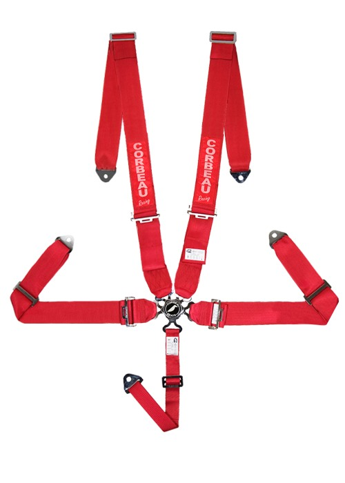 "Corbeau 5-Point Camlock 3"" Harness Belts - Red"