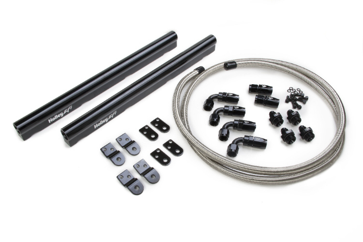 Holley LS Hi-Flow Fuel Rail Kit - Black Anodized